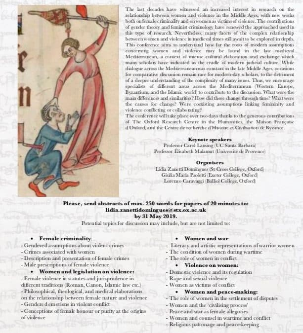 CFP 'WOMEN AND VIOLENCE IN THE LATE MEDIEVAL MEDITERRANEAN, ca. 1100-1500'